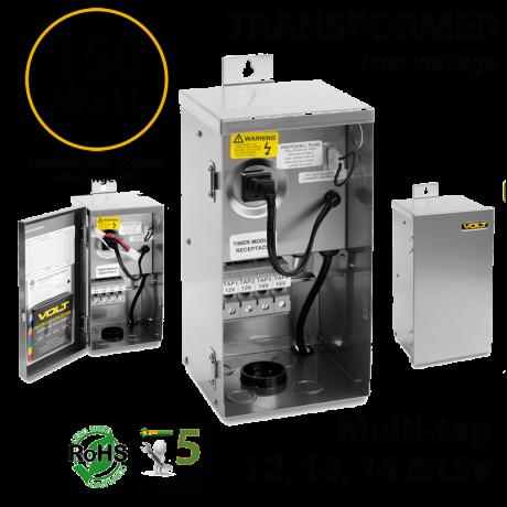 150 Watt 12-15v Multi-Tap Outdoor Landscaping Lighting Transformers