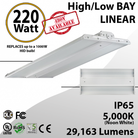 LED Linear High Bay Fixture 2Ft. 220W 29163 Lumens 5000K UL DLC