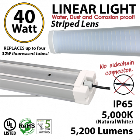 40W LED Vapor Tight PREMIUM 5200Lm 5000K Striped lens 4Ft