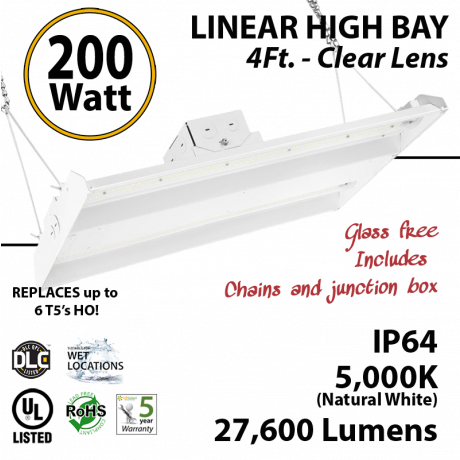 4Ft LED Linear High Bay Fixture 200W 27600 Lumens 5000K UL DLC