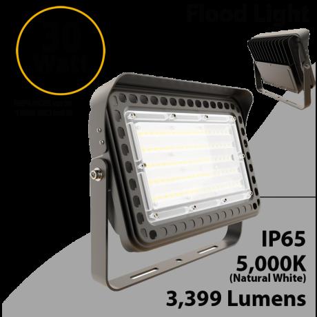 LED flood light 30W 5000K with yoke mount 3999 lumens