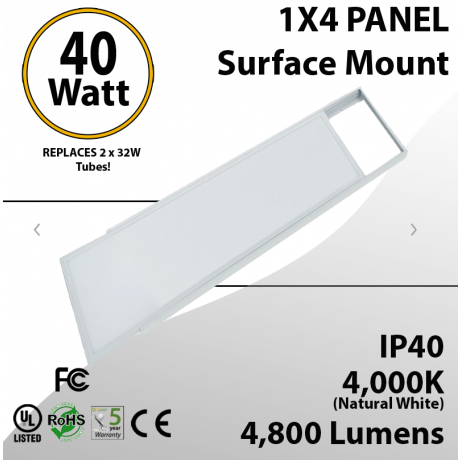 40W LED Panel 1x4 4850Lm 4000K IP64 UL DLC