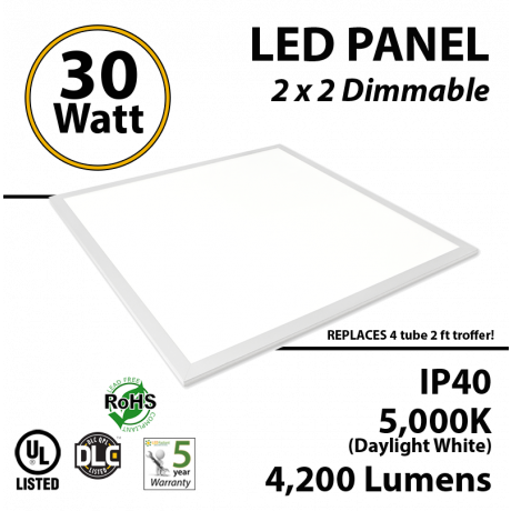 30W LED Panel 2 x 2 4200 Lm 5000K IP64 UL DLC Dimmable
