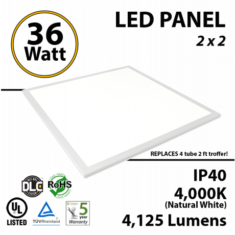 36W LED Panel 2 x 2 4125Lm 4000K IP64 UL DLC