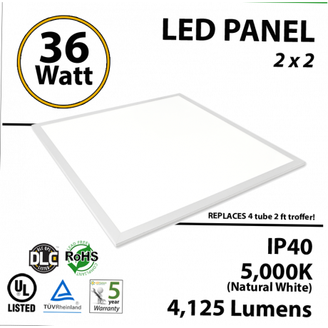 36W LED Panel 2 x 2 4200Lm 5000K IP64 UL DLC