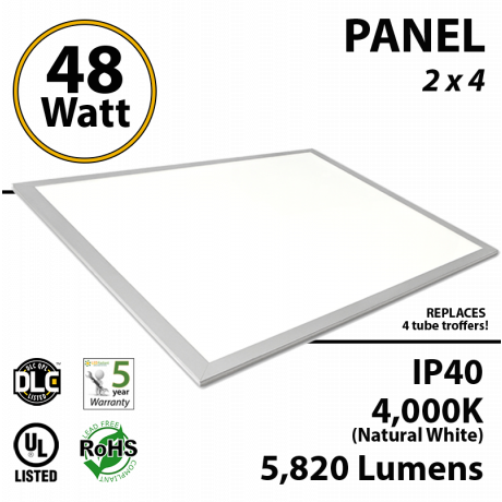 48W  LED Panel 2x4 4000K 5820 Lm DLC Premium Dimmable