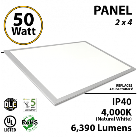50W LED Panel 2x4 4000K 6390 Lm DLC Premium Dimmable