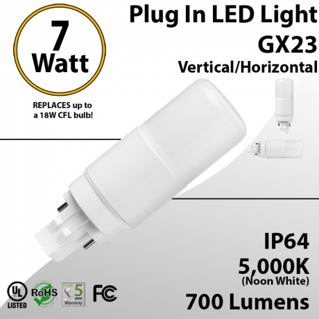 7W PL LED Bulb lamp 700Lm 5000K GX23 IP40 UL. Direct Line (Remove Ballast)