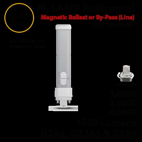PL Lamp LED CFL 1050Lm 3000 3500 4000K G24q-d Magnetic ballast or line