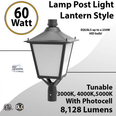 LED Post Light 60W LED Lantern Style 8128Lm 3000K 4000K 5000K Photocell