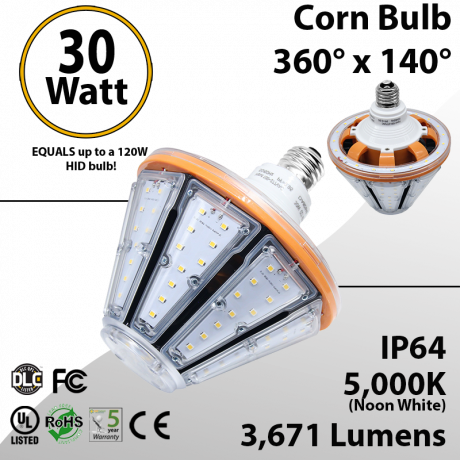 LED Corn Bulb 30W 3271Lm 5000K E26 IP64 UL DLC