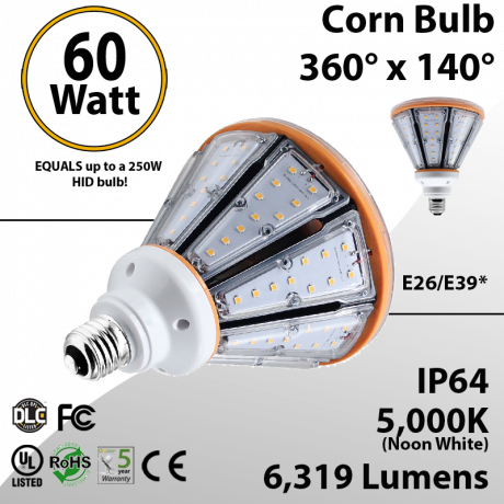 LED Corn Bulb 60W 6319Lm 5000K E26/E39* IP64 UL DLC