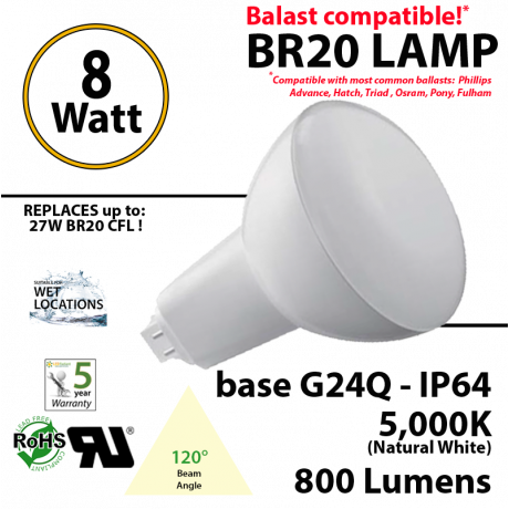 8Watts BR20 Lamp 5,000K (Natural White), 800Lm, Frosted Lens, UL. 120° Beam Angle. BASE: G24Q