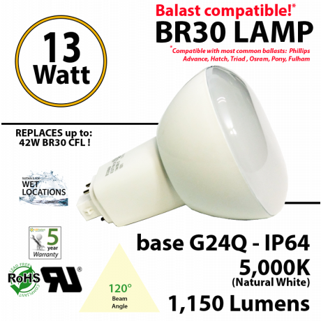 13Watts BR30 Lamp 5,000K (Natural White), 1150Lm, Frosted Lens, UL. 120° Beam Angle. BASE: G24Q