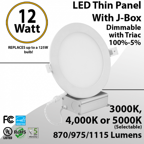 """Recessed Lighting can less LED Panel 6"""" 12W switchable white color temperature"""