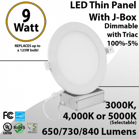 """Down Light for Recessed Lighting Ultra Thin LED Panel 4"""" 9W tunable white"""