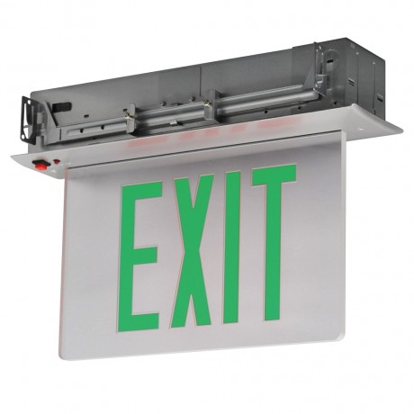 Exit Sign Recessed Edge-lit Battery Backup 2 Face Mirror Green