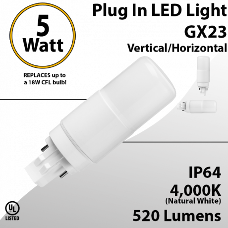 Plug In LED light GX23 5W 520Lm 4000K IP64 Direct Line or Magnetic Ballast