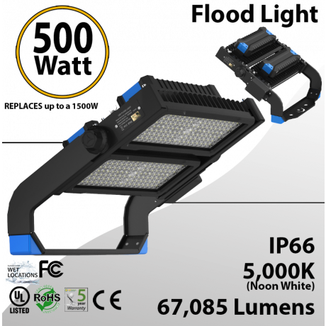 Stadium Lights Sports Lamp 500W 67,085 lumens UL DLC