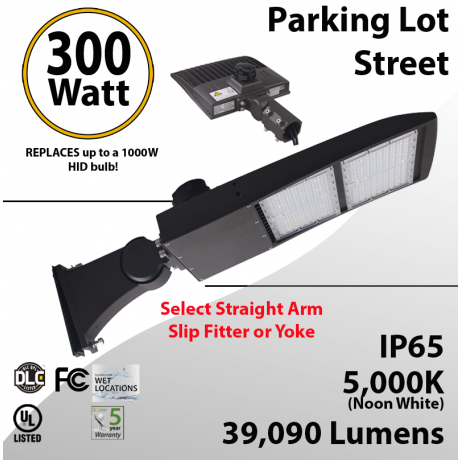 300W LED Shoebox Street Light fixture 39090Lm 5000K UL IP67 DLC