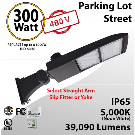 300W 480VAC LED Shoebox Street Light fixture 39090Lm 5000K UL IP67 DLC