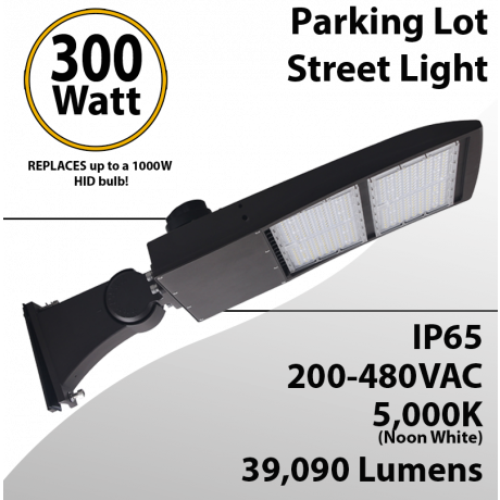 Street Light fixture LED 300W 480V 39090Lm 5000K UL IP67 DLC