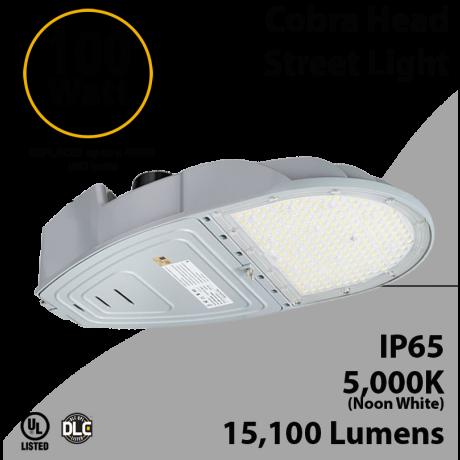 Cobra Head Street Light 100W 15100Lm 5000K UL IP65 DLC