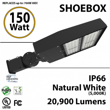 150W LED shoebox parking lot light 20900 lumens