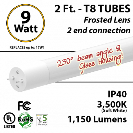 2Ft LED Tube Light 3500K 9W Frosted Lens 1150 Lumens T8 Glass
