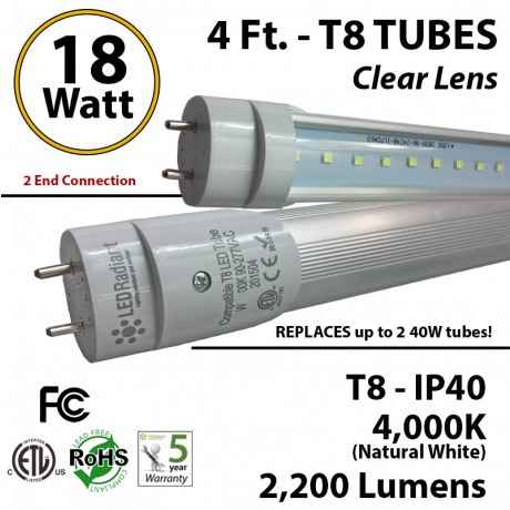18w 4ft LED T8 Tube Light 2200Lm 4000K Frosted 2 End Power