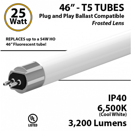 T5 LED Bulb Tube Light 25 Watts 6500K Frosted Lens 3200 Lumens Plug And Play