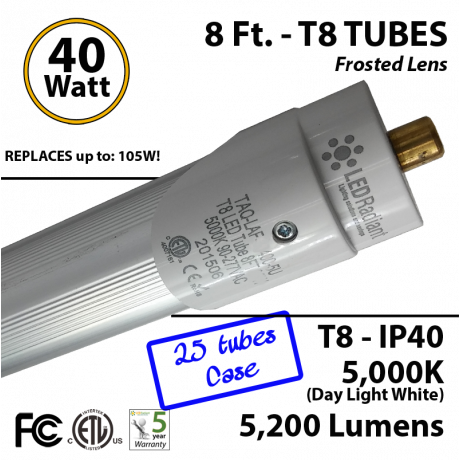 8 Ft. T8 LED Tube 40 Watt 5200Lm 5000K IP40 Frosted Lens