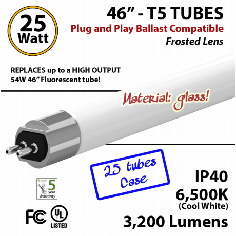 LED T5 Glass Tube Light 25 Watts 6500K Frosted Lens 3200 Lumens Plug And Play (1 case, 25 tubes)