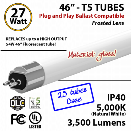 LED T5 Glass Tube Light 27 Watts Frosted Lens 3500 Lumens 5000K Plug And Play (1 case, 25 tubes)