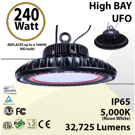 UFO Light High Bay LED lamp 240 Watt 32725 Lumens 5000K ETL & DLC