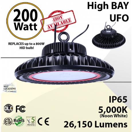UFO Lights High Bay LED lamp 200 Watt 26100 Lumens 5000K ETL & DLC