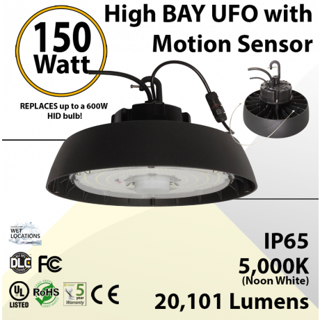 UFO High Bay LED Light 150W Microwave Motion Sensor 20101 Lumens 5000K UL & DLC
