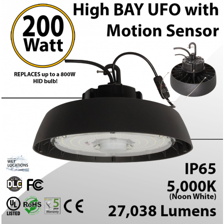 UFO High Bay LED Light 200 Watt w/ Motion Sensor 27038 Lumens 5000K UL & DLC