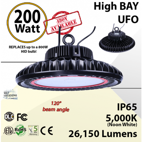 800 Watt hid Replacement with 200W LED UFO light 5000K