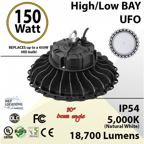 150W LED High Bay Light UFO 18700 Lumens 5000K UL DLC