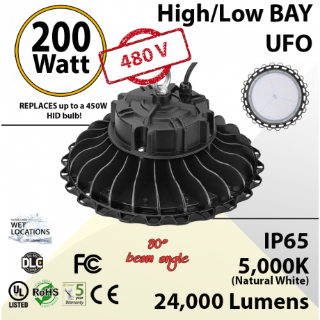 200W 480V LED High Bay Light UFO 24000 Lm 5000K