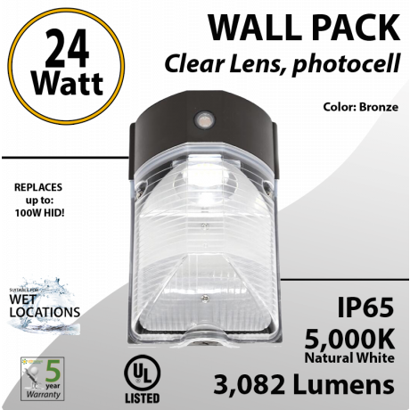 LED Wall Pack light 24W 3082Lm 5000K IP65 UL W/Photocell