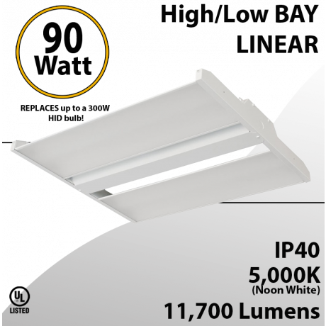 High Bay Led Light 2Ft. 90W 11790 Lumens 5000K UL DLC