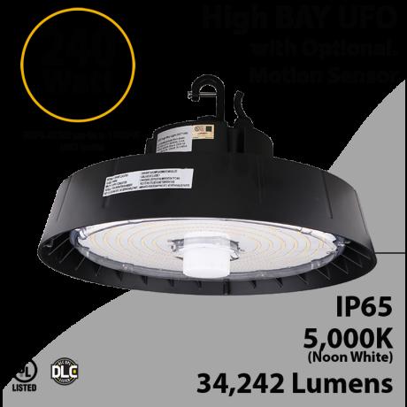 UFO Light LED High Bay 240 Watt Motion Sensor 34242 Lumens 5000K UL & DLC