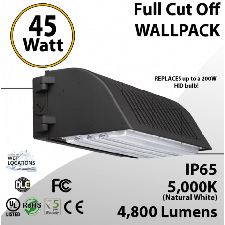45W LED Full Cut off Wall Pack 4800 Lumens 5000K IP65 UL DLC