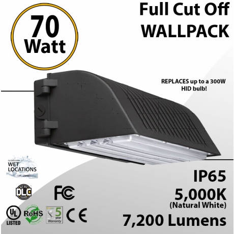70W LED Full Cut off Wall Pack 7200 Lumens 5000K IP65 UL DLC