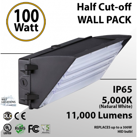 100W LED Half Cut off Wall Pack 11000 Lumens 5000K IP65 UL DLC
