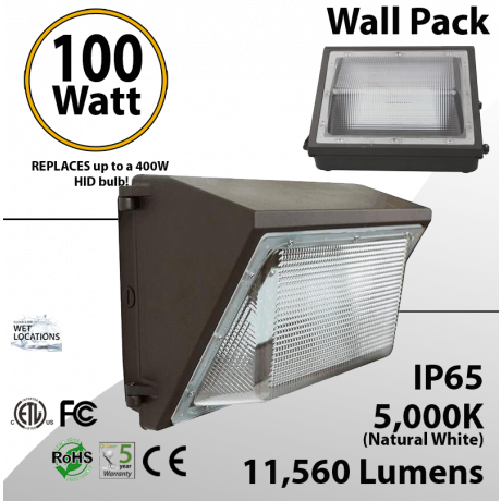 100W LED Wall Pack PC Lens 11560 Lm DLC 5000K
