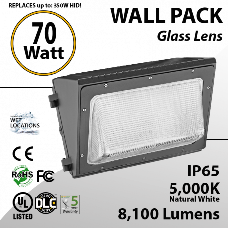 70W LED Wall Pack Fixture: 8100 Lumens 5000K IP65 UL DLC