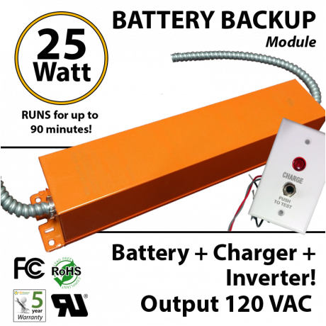 Battery Backup Inverter 25 Watt 100-277VAC 120VAC output sine wave Max. 90 Minutes UR